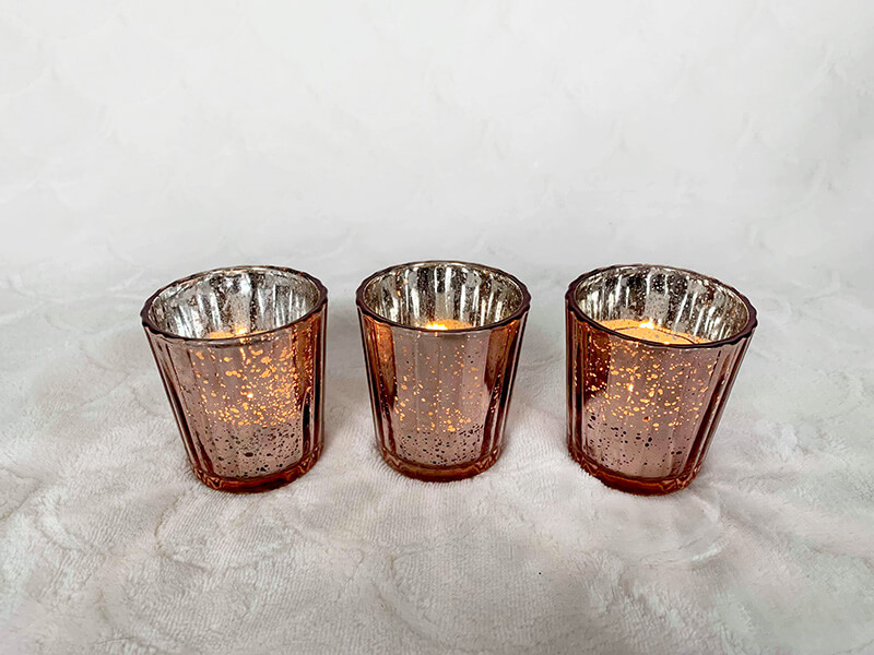 Mercury Glass Votives - Rose Gold